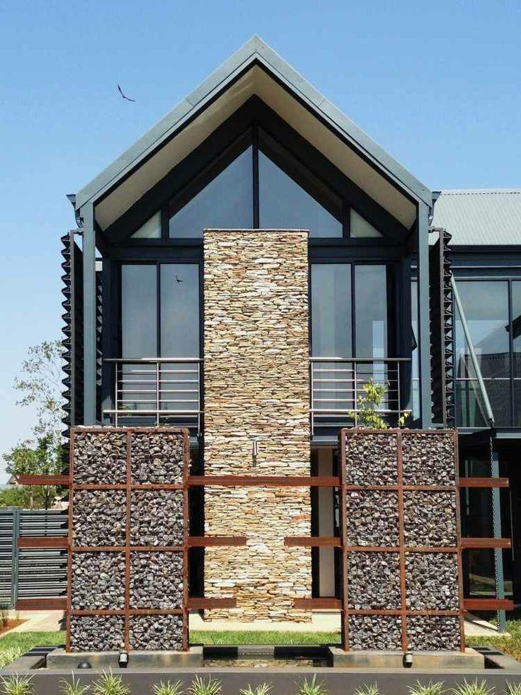 muros piedras gaviones modernos valla Jardín Pinterest