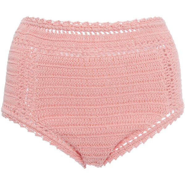 She Made Me Essential High Waisted Bikini Bottom ($150) ❤ liked on Polyvore featuring swimwear, bikinis, bikini bottoms, pink, she made me bikini, crochet swimwear, pink bikini, swim bikini bottoms and macrame bikini