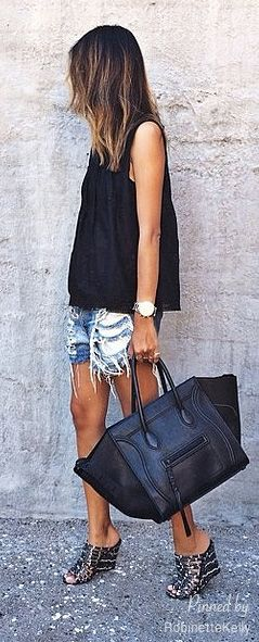 LOVE the shorts AND Bag!!!  Street Style | Denim and Leather