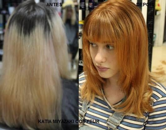 Katia Miyazaki Coiffeur - Salão de Beleza em Floripa: antes e depois - ruivo acobreado - loiro acobreado...