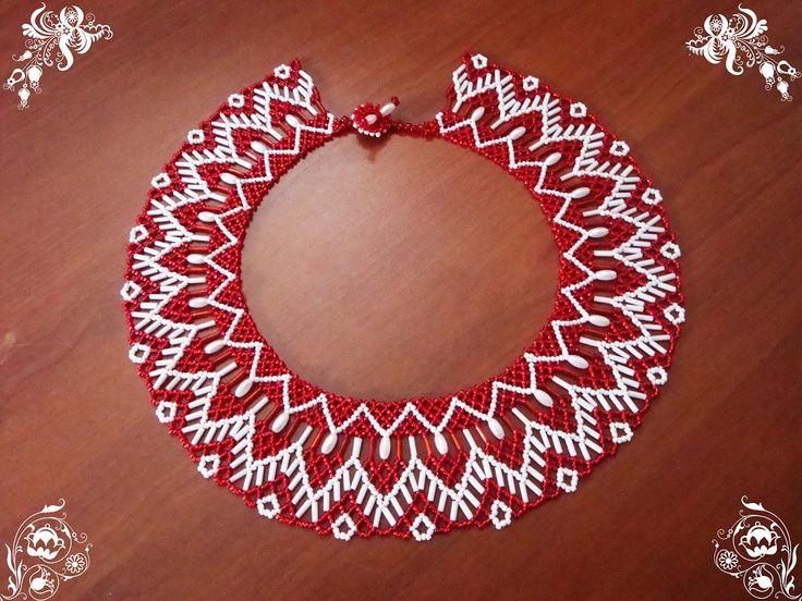Воротничок красный | biser.info - всё о бисере и бисерном творчестве