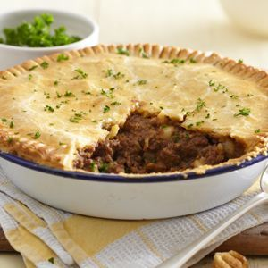 Find out how to make meat and potato pie with this easy recipe - made with Jus-Rol's shortcrust pastry, minced beef, garlic and onion.