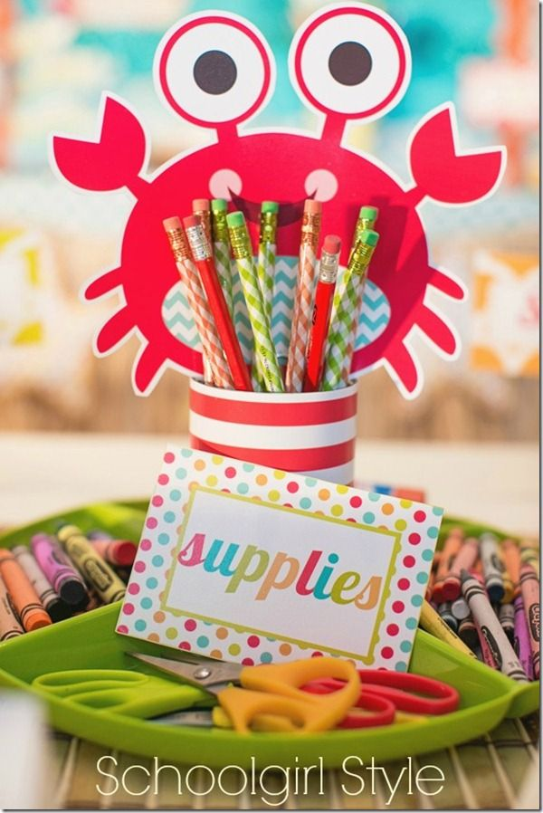 Ocean Beach classroom crab theme by Schoolgirl Style www.schoolgirlstyle.com