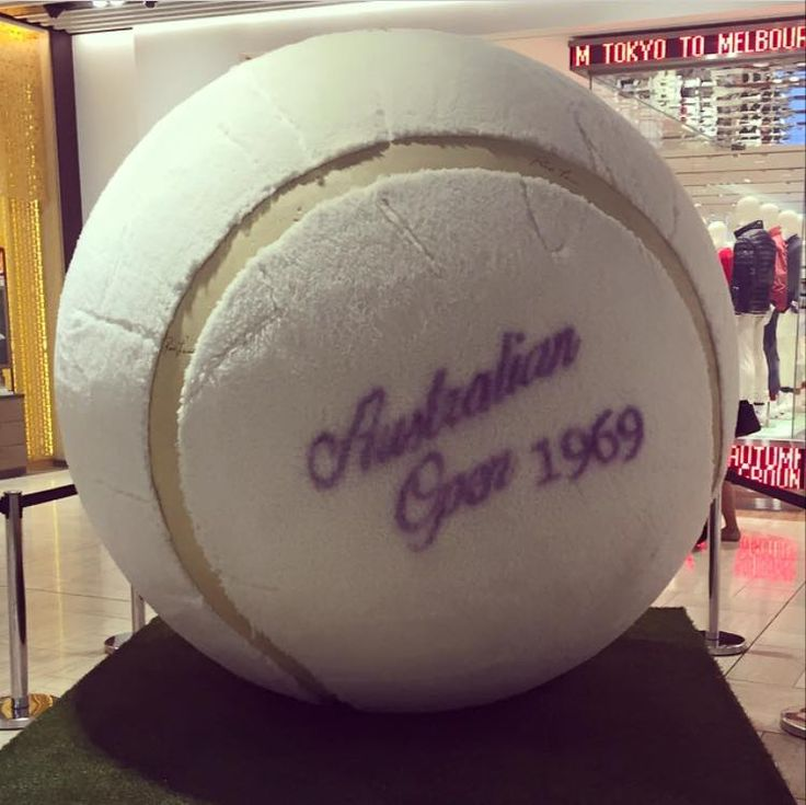 The giant tennis ball in Emporium Melbourne for The Australia Open! #ausopen
