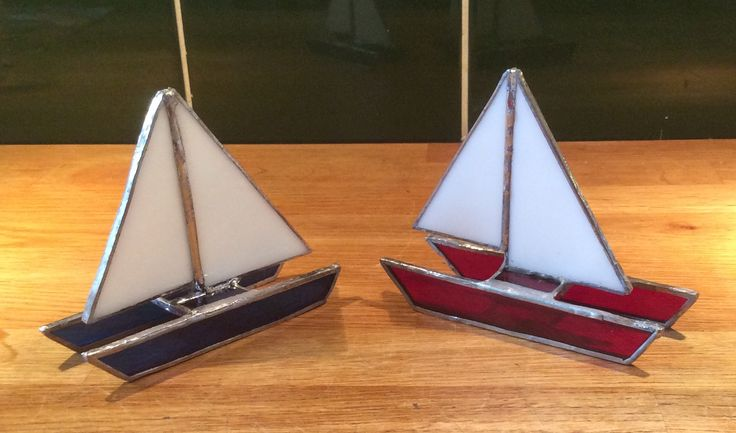 Copper foil stained glass catamarans