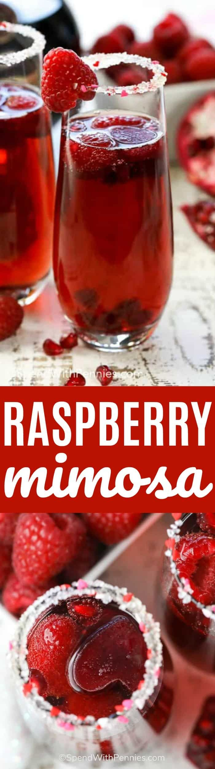 Raspberry Mimosa is made with raspberry liqueur and frosty pomegranate juice ice cubes topped with bubbly champagne or sparkling wine.This is perfect to enjoy with your hunny or to create a fun alcohol-free mocktail for the kids! #spendwithpennies #cocktail #mocktail #raspberry #easyrecipe #raspberryliquor #drinkrecipe