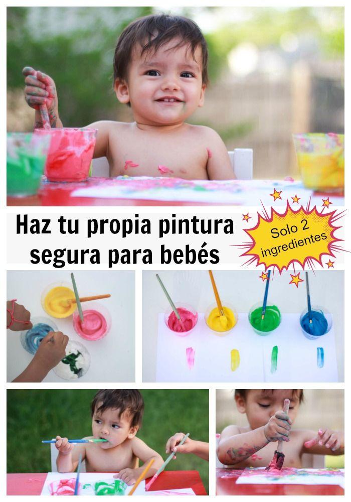 Pintura de Yogur para bebés. Segura para #bebés que se ponen todo en la boca. Haz #Manualidades con tu bebé. Actividad muy buena y entretenida para niños pequeños.