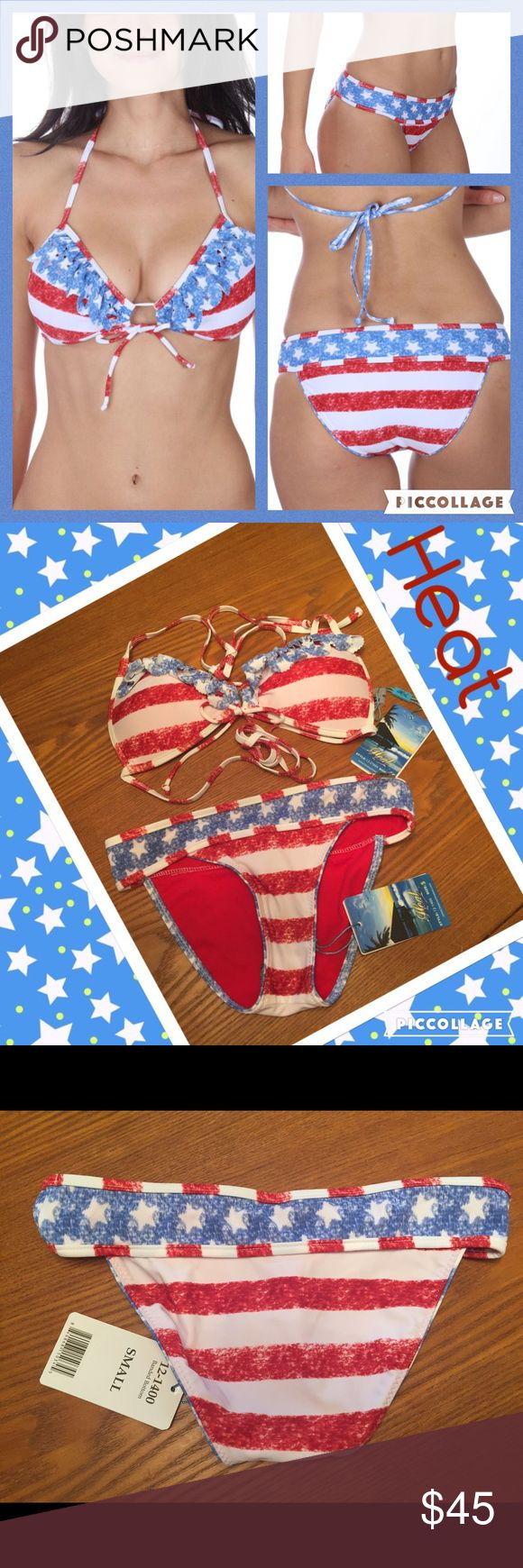 ❤️HEAT stars and stripe bikini NWT size small❤️ ❤️HEAT stars and stripe bikini NWT size Small. This is just in time for 4th of July but great for all summer as well. 80% nylon 20% spandex. ❤️ Heat Swim Bikinis