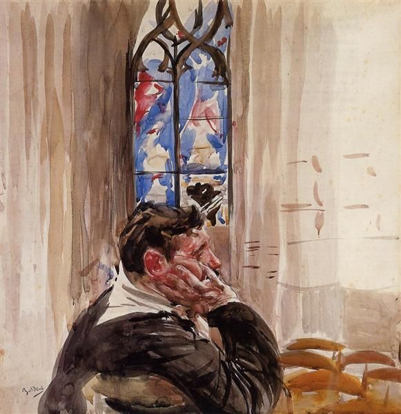 Giovanni Boldini Portrait of a Man in Church 1900