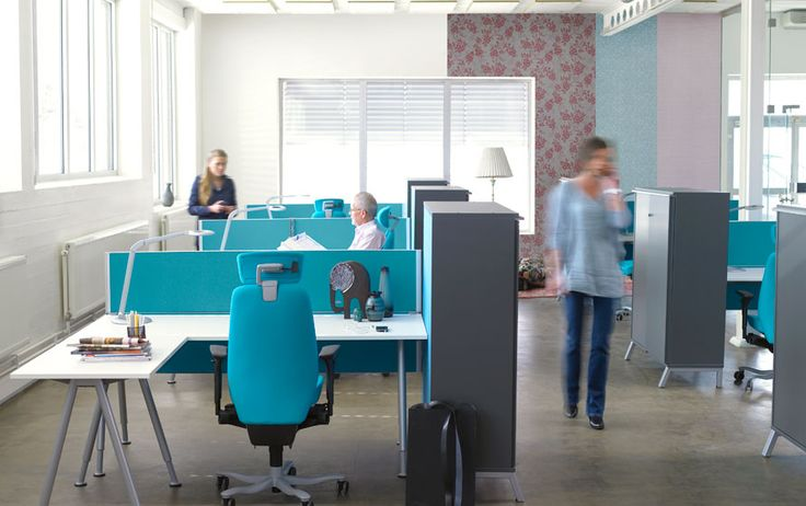 sense desks w/ modesty panels. great for start ups that are constantly growing and changing their office space for projects