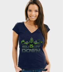 Shutdown Sky Women's Seattle Football V-Neck Shirt | Richard Sherman