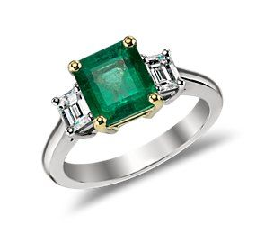 Emerald and Diamond Ring in 18k White and 18k Yellow Gold  #bluenile
