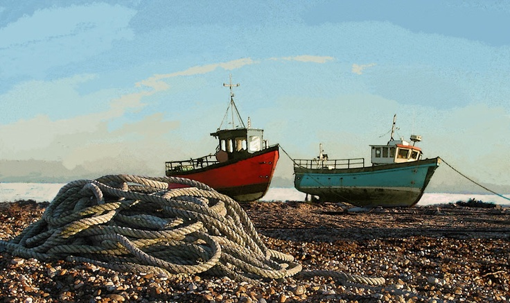 Fishing Boats, Hastings, East Sussex - William Waldie's seascapes. See his work at the First Sight art galley in the High Street firstsightgallery...
