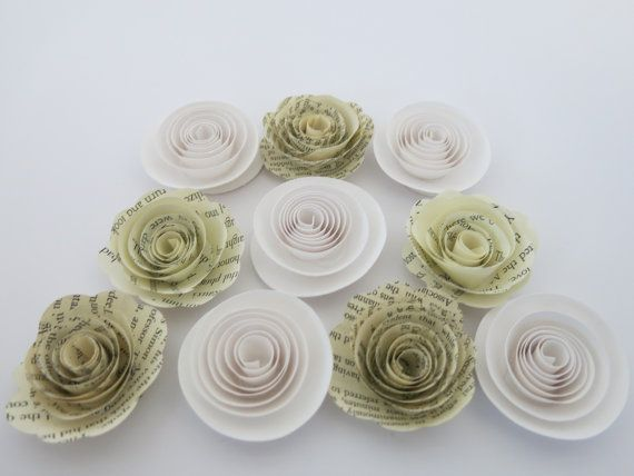 The 30 best small paper flowers set of 10 images on pinterest white and book page paper flowers 10 piece set by alwaysinblossom mightylinksfo
