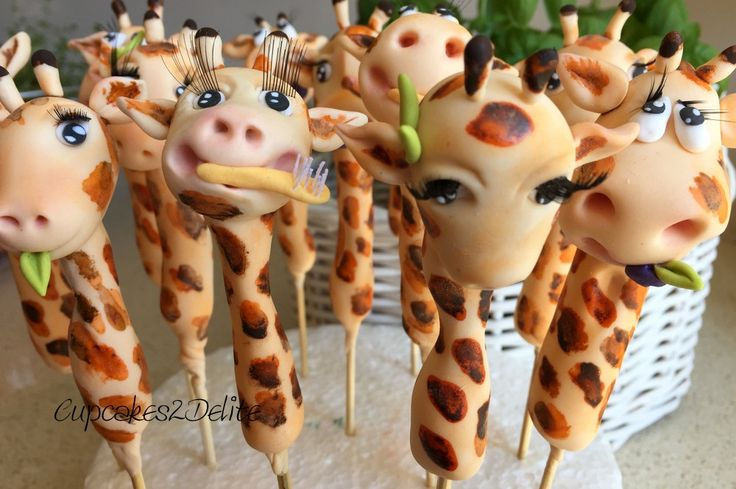 Sugar Paste Giraffe Cupcake Toppers by Cupcakes2Delite