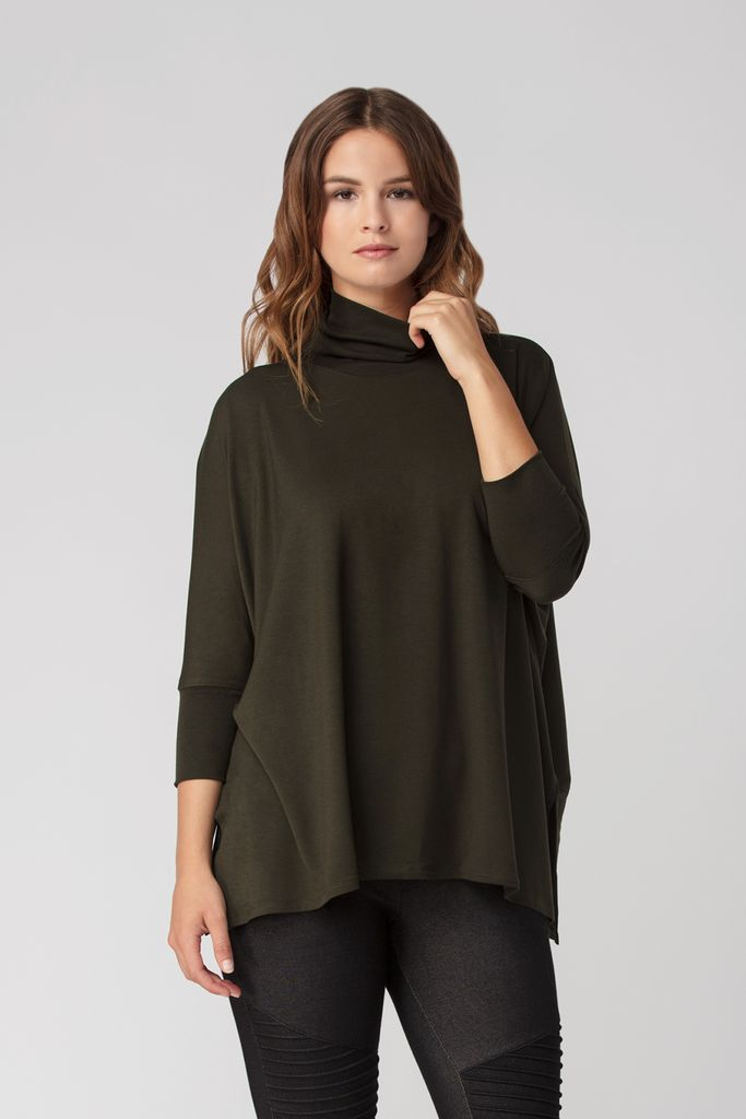 Womens Organic Bamboo Viscose Turtleneck Sweater in Olive - LNBF Sustainable Clothing Designed in Canada