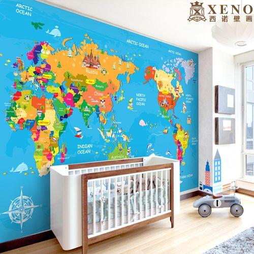 Карта мира по уходу за детьми реального обои телевизор мультфильм фотообоями старинные домашнего декора купить на AliExpress