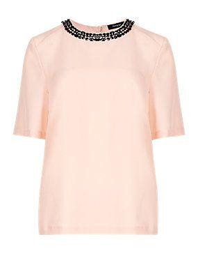 Pale Pink Jewel Embellished Neckline Blouse