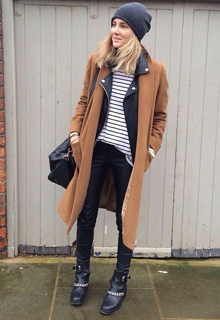 Black jacket and long camel coat