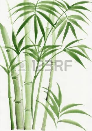 aquarelle chinoise: Peinture originale d'aquarelle de palmier bambou