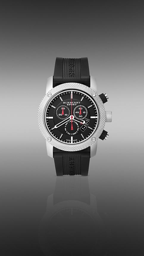 44MM STAINLESS STEEL CHRONOGRAPH WITH RUBBER STRAP | Burberry