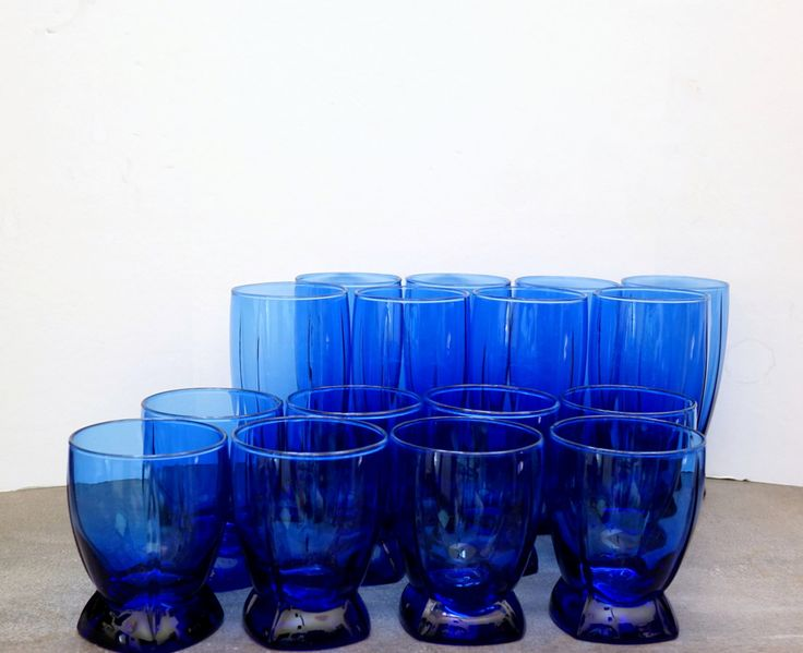 Cobalt Blue Glass | Anchor Hocking Glassware | Berkeley Drinking Glasses Set | Vintage Glassware | Glass Tumblers | by ClassicEndearments on Etsy