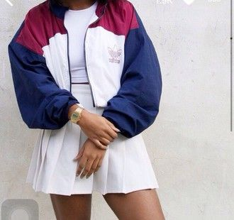 jacket skirt white top adidas old school