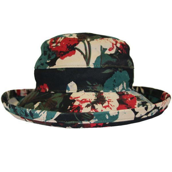 The Noosa Hat - Black Floral Cotton | Topshow