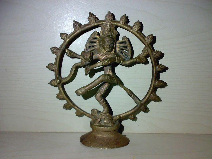 Tanzender Shiva Nataraja Statue aus Messing o. Bronze Höhe: 14,7 cm * Hindu Goa