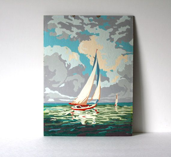 nautical, harbor, coastal - Vintage Sail Boat Paint by Number Painting 1 by vntagequeen, $32.00