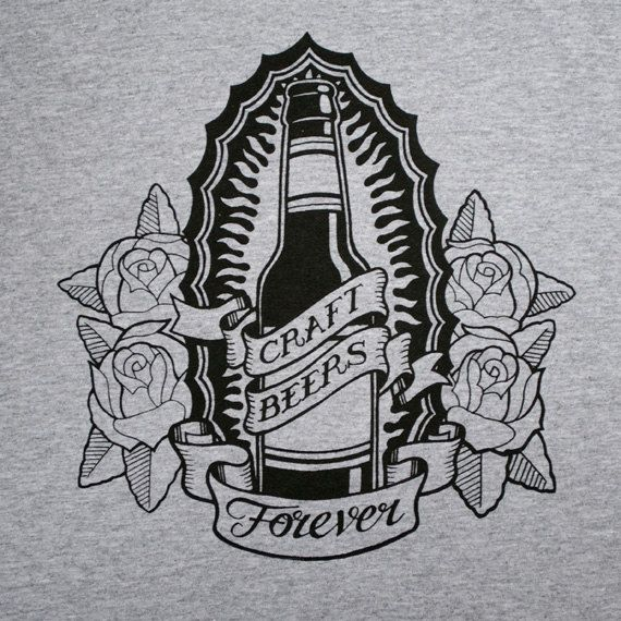 Limited Edition 'Craft Beers Forever' Screen Printed Beer / Tattoo T Shirt on Etsy, $25.64