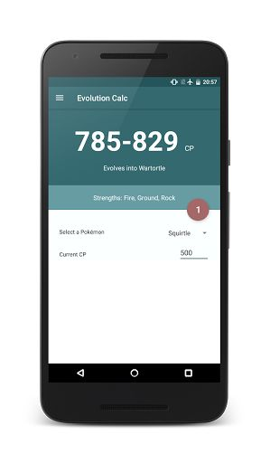 Evolution Calc for Pokemon GO v2.5   Evolution Calc for Pokemon GO v2.5Requirements:4.1Overview:This app is for everybody who wants to know how much the CP of your Pokemon will increass after evolving.  This app is for everybody who wants to know how much the CP of your Pokemon will increass after evolving. Simply pick your Pokemon enter your current CP and the app will tell you how much of an increase is possible. Now also with a lucky egg XP calculator aswell as an upgrade CP calculator…