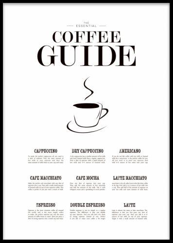 Coffee guide - snygg tavla till köket. Tavla med kaffe guide. Poster med beskrivningar om olika kaffe sorter.