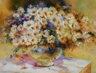 Картина ромашки «Цветы на столе»