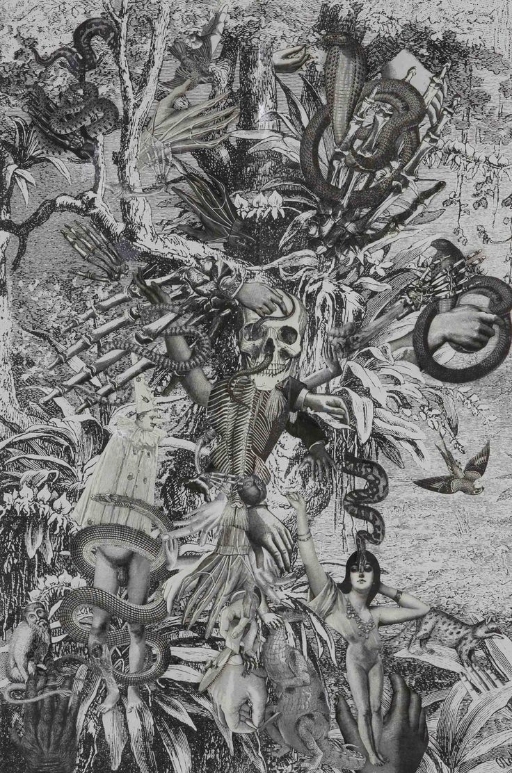 Title: Adam and Eve - 2014 Collage on paper Size with passepartout: cm 57x39 Unique piece