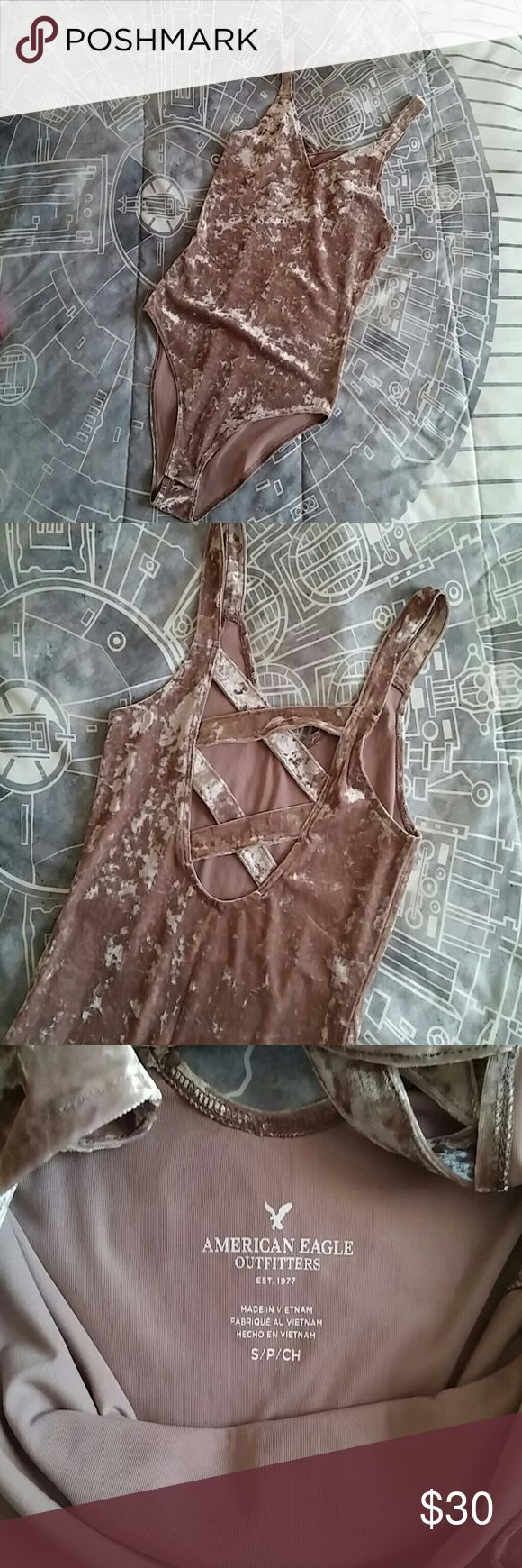 American eagle velvet pink bodysuit NWOT Out of stock online Size small Never worn Brand new American Eagle Outfitters Tops