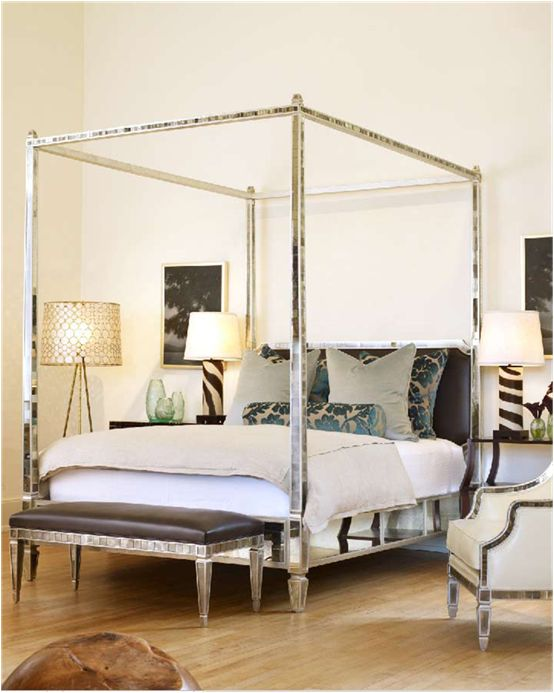 A SPARKLING ADDITION The Mosaic Luxury Mirrored Four Poster Canopy Bed Handmade To Your Own Specific Order Requirements By Our Team Of Specialist Mirror