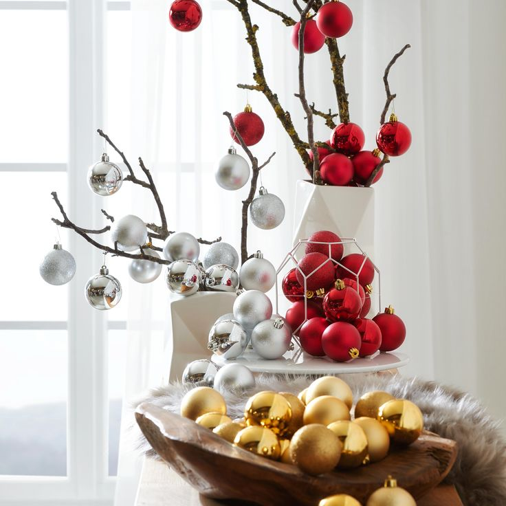 Weihnachtskugeln - Christbaumkugeln rot weiß gold