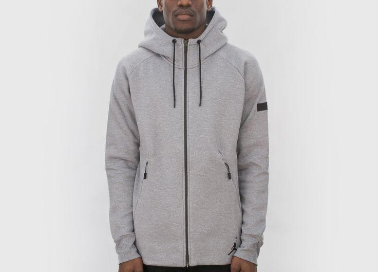 Nike Jordan Icon Fleece Full-Zip Hoodie (Cool Grey / Black) #lpu #sneaker #sneakers