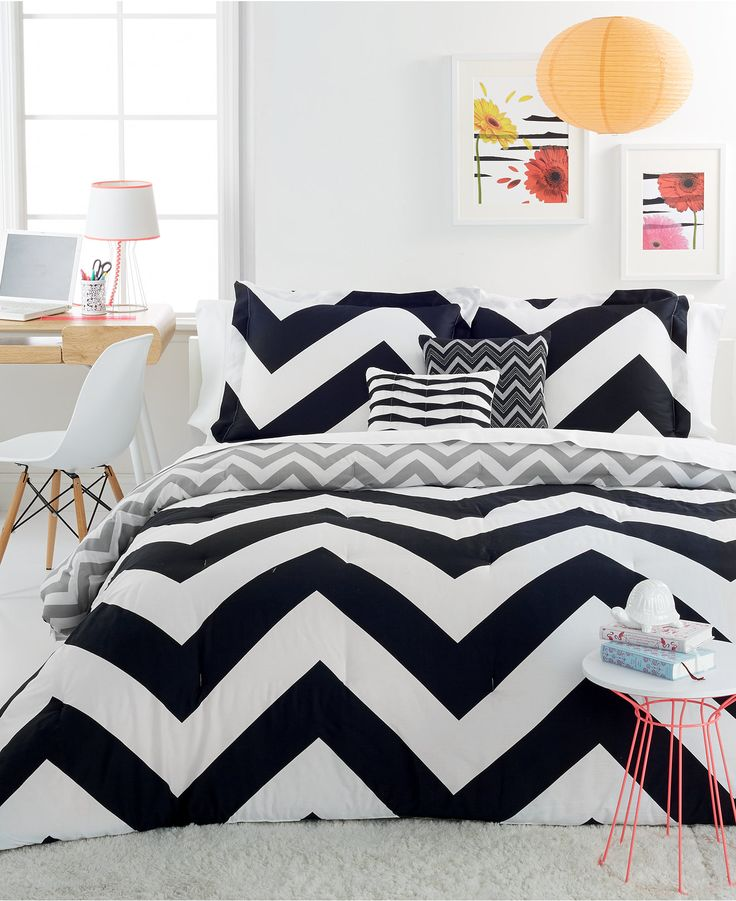 Mint Green Black And White Bedroom Contemporary Bedroom Wall Decor Artwork For Bedroom Wall Bedroom Decorating Ideas With Tufted Headboard: CLOSEOUT! Chevron Black 4 Piece Twin Comforter Set