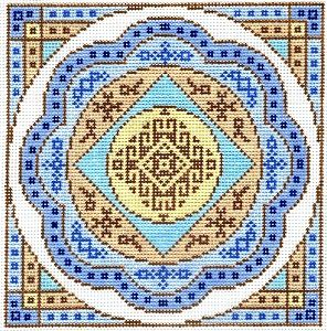 "Spiritual needlepoint - Mandala, hand-painted, 7"" x 7"" on 13 mesh canvas, Made in Sedona, Arizona"