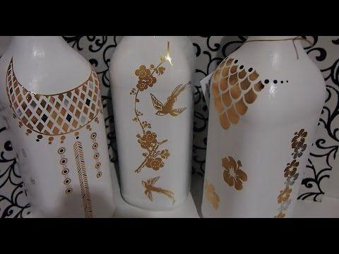 DIY garrafa decorada e porta treco - Vidros decorados - Do Lixo ao Luxo - Compartilhando Arte - YouTube