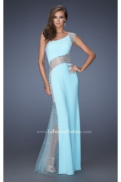 one shoulder la femme prom dress cheap