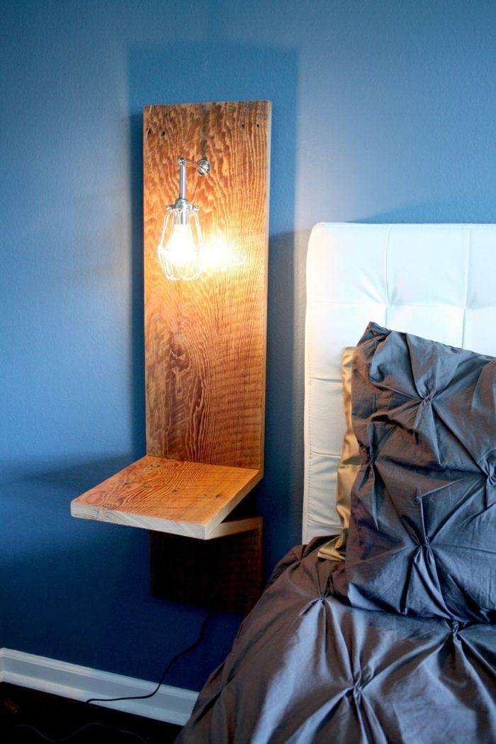 table de nuit suspendue, table de chevet flottante en bois