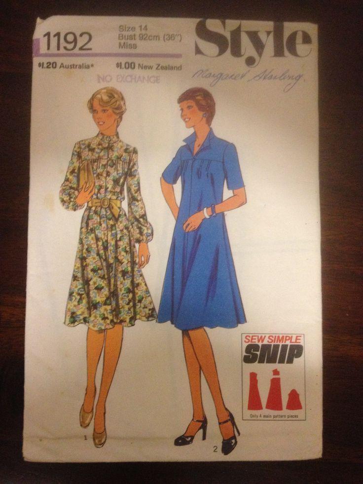 Style 1192, Misses dress, Sz 14 (36), 1976