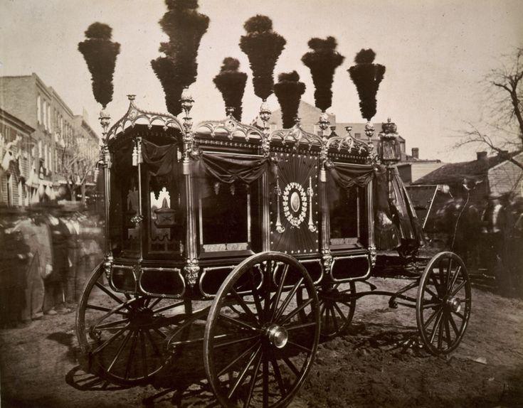 President Abraham Lincoln's hearse, Springfield, by Samuel Montague Fassett, 1865