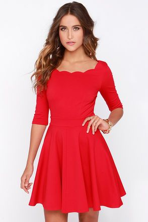 Cute Red Dress - Scalloped Dress - Skater Dress - $46.00