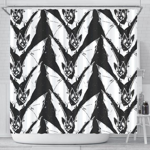 Goth Duschvorhang, Bat Duschvorhänge, Gothic Bad Vorhang, Gothic Badezimmer, Badezimmer Dekor, Badewanne   – Products