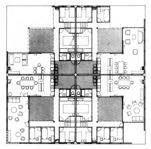 James stirling low cost housing floor plan basic four house clusters lima peru 1969 la - Low cost house plans ...
