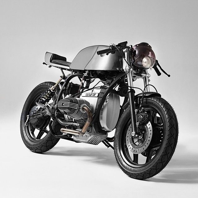 """""""50 Shades Of Grey: here's a super-sexy BMW R65 from the Barcelona workshop @fuelbespokemotorcycles. We're especially digging the low-key paint, which is…"""""""